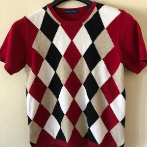 Sweaters - Women's Argyle Short Sleeves Sweater